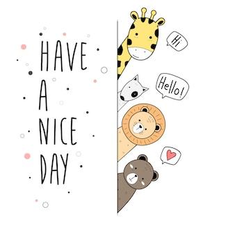 Animais bonitos dos desenhos animados doodle cartão cartaz papel de parede