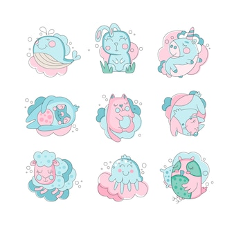 Animais bonitos dos desenhos animados dormindo conjunto, conceito de bons sonhos ilustração em um fundo branco