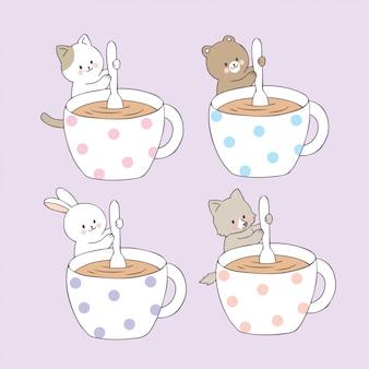 Animais bonitos dos desenhos animados e vetor do copo de café.