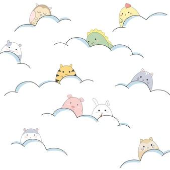 Animais bonitos dos desenhos animados estão jogando nas nuvens