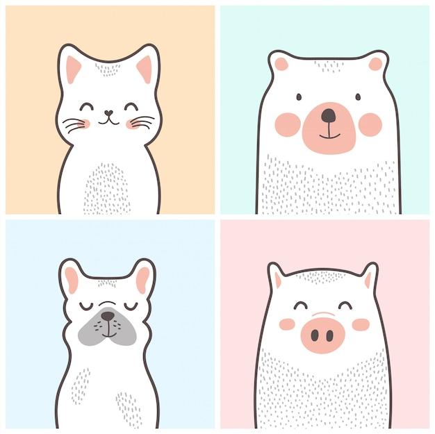Animais bonitos dos desenhos animados: gato, urso, cachorro, porco
