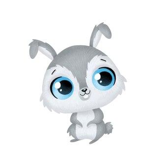 Animais bonitos dos desenhos animados. lebre isolada