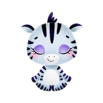 Animais bonitos dos desenhos animados meditam. meditação da zebra.