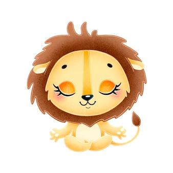 Animais bonitos dos desenhos animados meditam. meditação do leão.