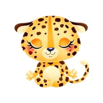 Animais bonitos dos desenhos animados meditam. meditação do leopardo.