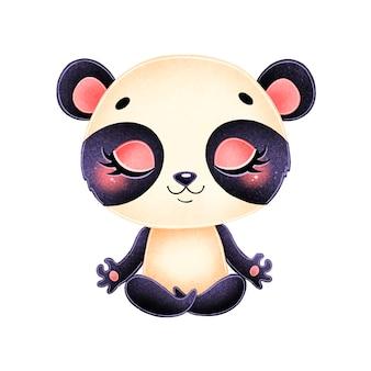 Animais bonitos dos desenhos animados meditam. meditação do panda.