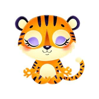 Animais bonitos dos desenhos animados meditam. meditação do tigre.