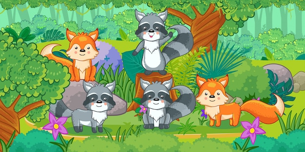 Animais bonitos dos desenhos animados na selva. conjunto de animais.
