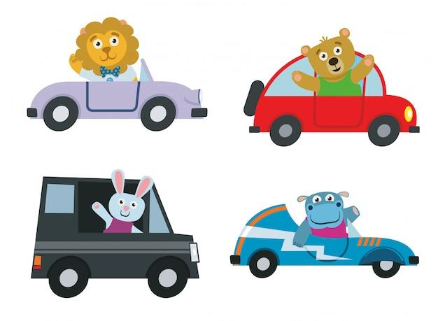 Animais bonitos dos desenhos animados no pacote de carro