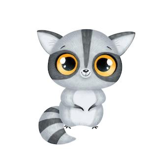 Animais bonitos dos desenhos animados. raccoon isolado