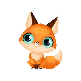 Animais bonitos dos desenhos animados. raposa isolada