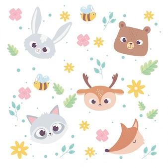 Animais bonitos dos desenhos animados rostos selvagens coelho urso veado raposa e guaxinim flores abelha