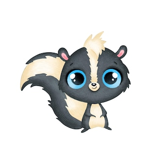 Animais bonitos dos desenhos animados. skunk isolada