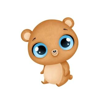 Animais bonitos dos desenhos animados. urso isolado