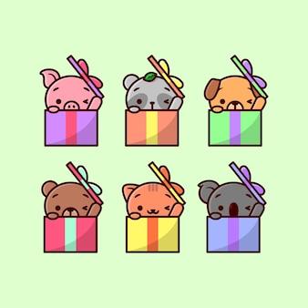 Animais bonitos na caixa de presente do crhistmas