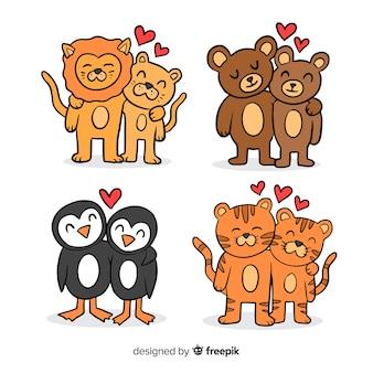 Animais casais coleção de dia dos namorados