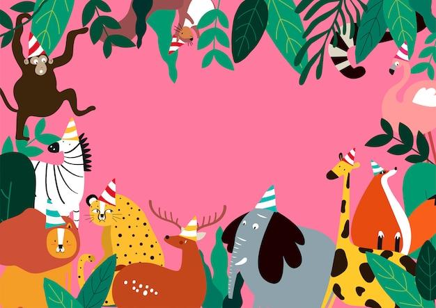 Animais celebração tema modelo vector illustration