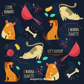 Animais coloridos doodle e padrão de palavras