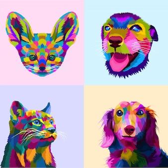Animais coloridos no estilo pop art
