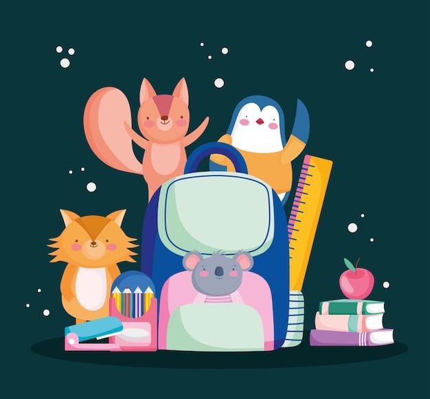 Animais com material escolar