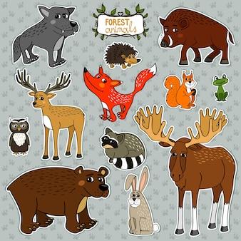 Animais coruja cervo raposa