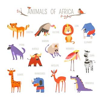 Animais da africa engraçados vector design dos desenhos animados