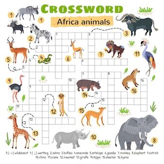 Animais da áfrica palavras cruzadas