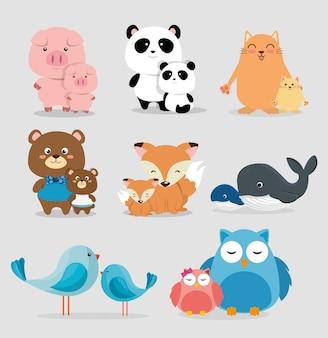 Animais da família grupo personagens ilustração vetorial design