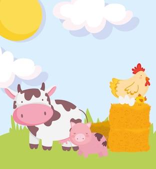 Animais da fazenda porco vaca galinha e ovos no desenho animado do feno