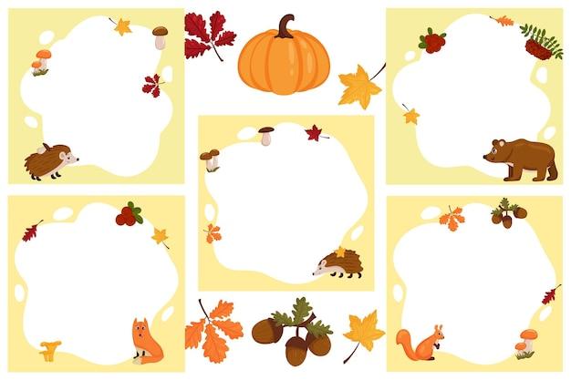 Animais da floresta. conjunto de quadros de vetor na forma de um ponto com elementos de outono, em estilo cartoon plana.