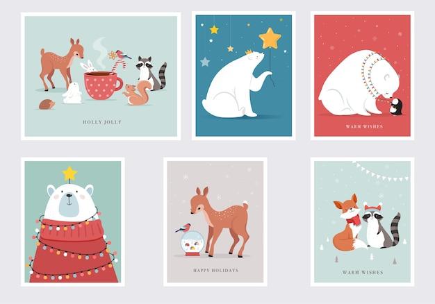 Animais da floresta de inverno, cartões de feliz natal