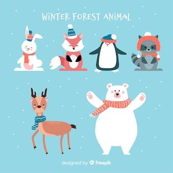 Animais da floresta de inverno