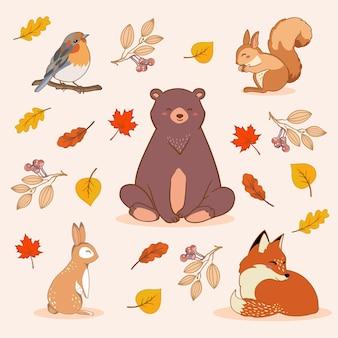 Animais da floresta de outono desenhados à mão