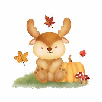 Animais da floresta de outono em aquarela com um lindo cartão de veado