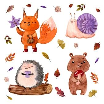Animais da floresta de outono em aquarela