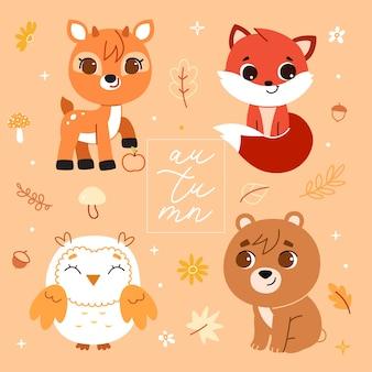 Animais da floresta e conjunto de elementos de decoração. ilustração.
