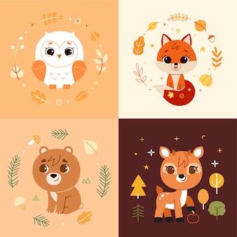 Animais da floresta e elementos de decoração definem ilustração.