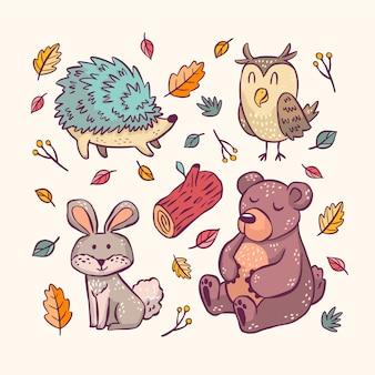 Animais da floresta outono desenhados à mão