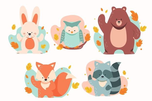 Animais da floresta plana outono