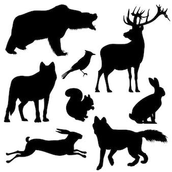 Animais da floresta vector conjunto de silhuetas
