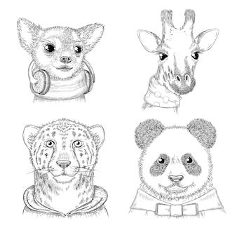 Animais da moda. entregue os porteiros hipster desenhados em várias imagens de animais de roupas engraçadas para adultos