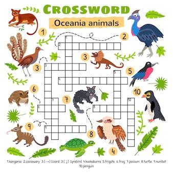 Animais da oceania palavras cruzadas. planilha de atividades para crianças em idade pré-escolar.