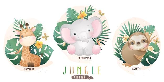 Animais da selva fofos com coleção floral