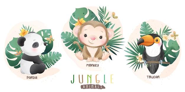 Animais da selva fofos com coleção floral Vetor Premium