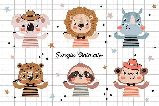 Animais da selva fofos ilustração para crianças coala leão rinoceronte leopardo macacos-preguiça personagens