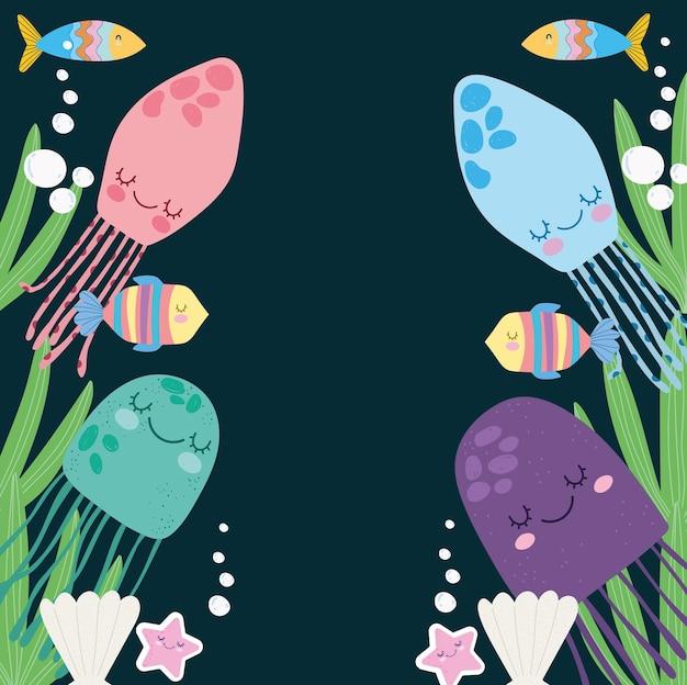 Animais da vida marinha subaquática algas