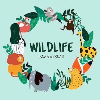 Animais da vida selvagem cartoon vetor de modelo de animais de estilo