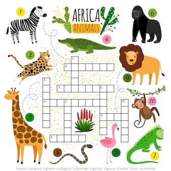 Animais de áfrica de palavras cruzadas.