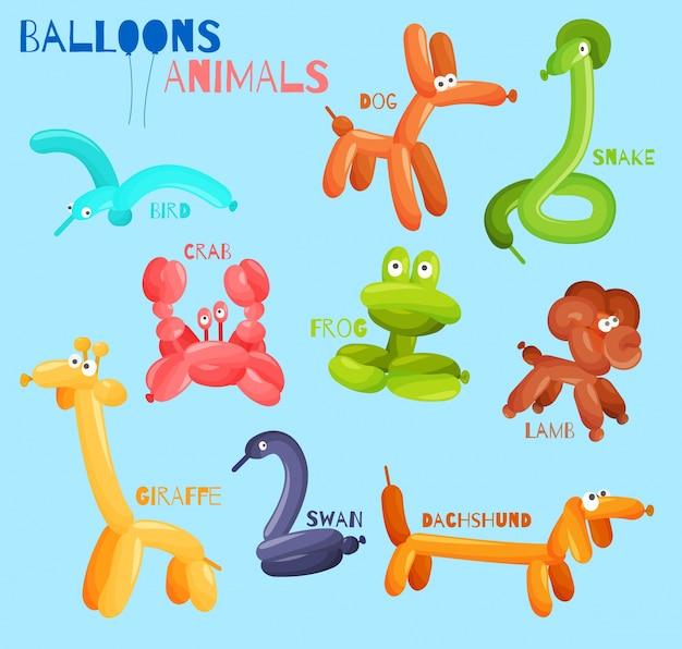 Animais de balão isolados