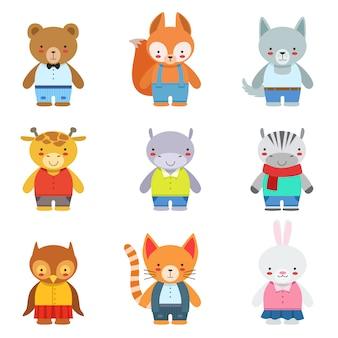 Animais de brinquedo crianças em roupas